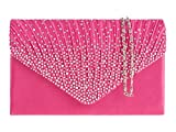 fi9® LADIES DIAMANTE BLING PARTY PROM BRIDAL EVENING CLUTCH HAND BAG PURSE HANDBAG (Fuchsia Pink)