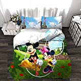 BEDSETAAA Winter Vierteilige Heimtextilien Set Bettbezug Kissenbezug Cartoon Bettwäsche Kinderbettwäsche Home Queen Bed Set 155x215cm Grün