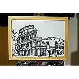 Colosseum Rom-Zeichnung schwarze Filzstift auf Papier im Format A4 cm 29,7x21cm. Ursprünglicher Entwurf durch den Künstler David pacini.-MADE IN ITALY, Toskana, Lucca. Zertifikat.