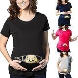 Quaan Damen Weise Pflege Mutterschaft Solid Vest Elegant Party Kleid Lässige Mode Frauen Lässige Mutterschaft Pflege Schwangere Frau Shirt Kurzarm Bedrucktes Top T-Shirt für Schwangere (XL, Schwarz)