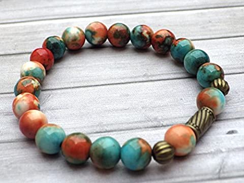 Bracelet tibétain style vintage en perles de jade blanc naturel teinté en marron, orange et bleu, perles en bronze antique