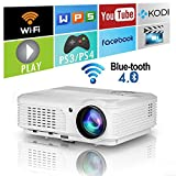 EUG WXGA LCD Bluetooth HD Wifi Projector 4400 Lumen 1080P Wireless Smart Android LED Home Cinema Video Projectors HDMI USB VGA Audio Indoor Outdoor Movie Game TV Blueray DVD iPhone Mac PS4 Laptop Mac