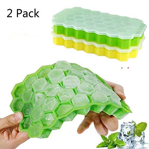 Confezione da 2 cubetti di Ghiaccio con Coperchio, Gel di silice per Uso Alimentare Flessibile e Senza BPA, 37 cubetti di Ghiaccio...