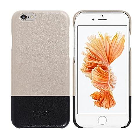 Original SUMGO echt Leder iPhone 6, 6s Flip Cover Schutzhülle Hülle Back Case Tasche - in Schwarz / Creme