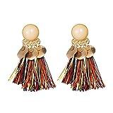 Fossrn Pendientes Mujer Baratos, Bohemia Pendientes Mujer Flecos Borlas Aretes (Multicolor)