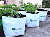Elegant, double colored plant grow bag. Inside black color and outside white. Black color protects root from sunlight pack of 8 no's poly grow bags made from virgin plastic. 24 cms length x 24 cms width x 40 cms height grow bags for balcony, terrace ...