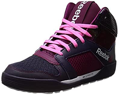 Reebok Women's Dance Urtempo Mid Purple, Berry, Pink and White Mesh Basketball Shoes - 4 UK