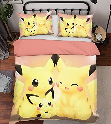 AJ WALLPAPER 3D Duvet Cover for Pokemon Pikachu 354 Japan Anime Game Sommer Bettwäsche Kopfkissen, Steppdecke Bettbezug Set Queen King   3D-Foto Bettwäsche DE Wendy (Einzelne)