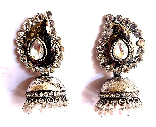 Divine Creations Ethnic Collection Handmade Oxidised Silver Plated with Studded Diamond Stone Stud Jhumki Jhumka Earrings Jewelry For Women And Girls  available at amazon for Rs.299