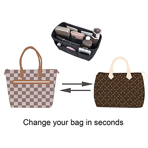 b3ac47b5c8 ... Piccolo APSOONSELL Organizer borsa donna in feltro, Interno purse  organizer per cosmetici, Grigio, ...