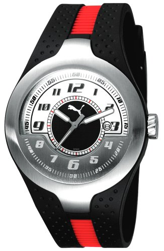 Puma Time Men's Quartz Watch Piston Silver White PU101781002 with Rubber Strap