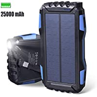 Cargador Solar 25000mAh Elzle Portátil Con Batería Solar, Prueba de Golpes Prueba de Polvo,
