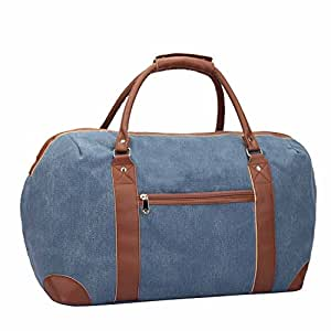 Canvas Travel Holdalls - Weekend Overnight Bags -Large Size Holiday Travel Duffle Bag - Womens Ladies Maternity Holdall - Hand Luggage Cabin Baggage 50cm x 30 x 25 (Blue)
