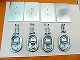 4 x AVB Zurrmulden Zurrösen Gr. 0 klein oval 250 daN mit Gegenplatten und Schrauben Ladungssicherung für Pkw Anhänger