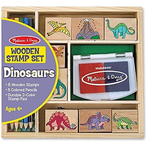 Melissa and Doug 1633 - Juego de sellos de madera con lápices de colores y tinta, diseño de dinosaurios [importado de Alemania]