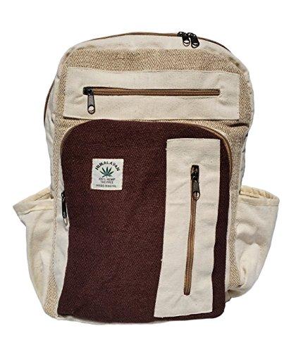 Handgemachter Rucksack/Daypack/Backpack aus natürlichem Hanf mit Laptop-Tasche - UNISEX - MADE IN NEPAL (Coffee Bean)