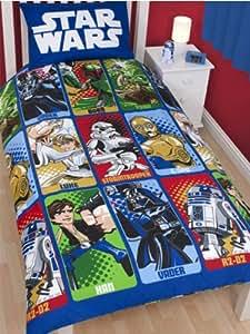 parure housse de couette linge de maison star wars cartoon lit 1 personne decoration chambre. Black Bedroom Furniture Sets. Home Design Ideas