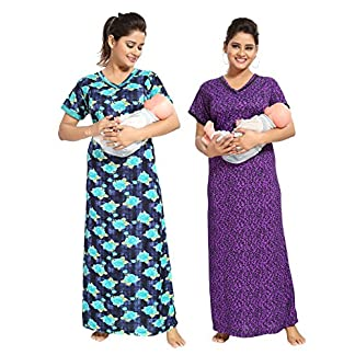 3a2051b3c TUCUTE Women Beautiful Print with Invisible Zip + Floral Print  Feeding Maternity Nursing Nighty Night Gown Night Dress Nightwear (Free  Size) (Pack of 2 Pcs)