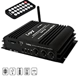 Mini Bluetooth Amplificatore, FisherMo Classe D Amplificatore Potente Potenza digitale Hi-Fi Stereo Musica USB SD Giocatore FM Radio Ricevitore per TV Auto Moto Barche