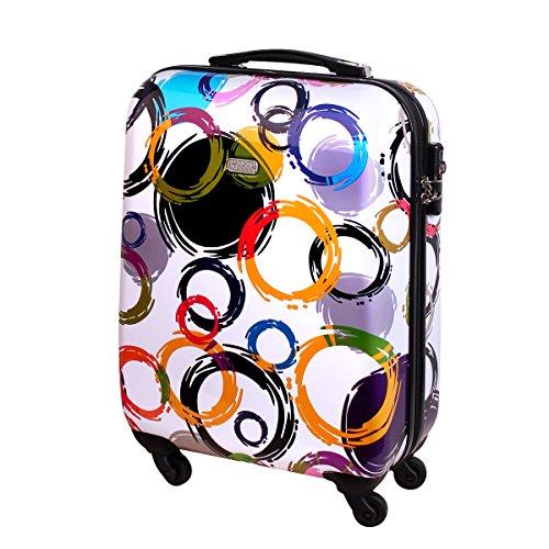 Handgepäck Bordgepäck Hartschalen Koffer für Kurzreisen Urlaub Reisen Businesskoffer Trolley Case TSA Schloss 30 Liter Multi Color Weiß 813 / 818
