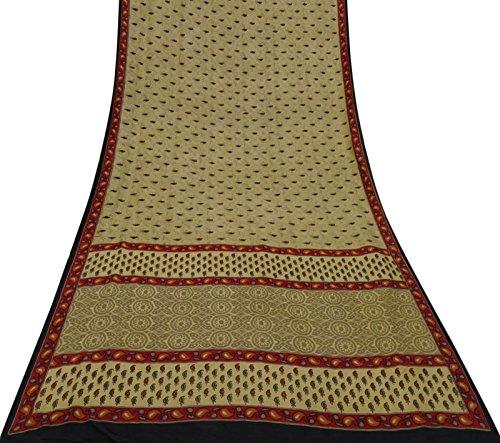 Vintage indische Saree Beige Paisley reine Seide Sari Gebrauchte Craft Stoff drucken (Sari Paisley)