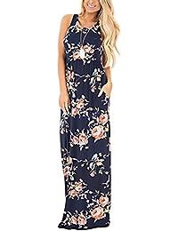 HOUSWEETY Blumendruck Rundhals aermellos Langes Maxi Kleid Laessig mit Taschen Kleid
