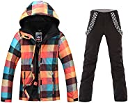 HOTIAN Women's High Windproof Technology Colorful Snowboarding Jacket Ski Pants