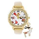 Souarts donna Natale alce fascino orologio al quarzo Orologio cinturino similpelle rosso