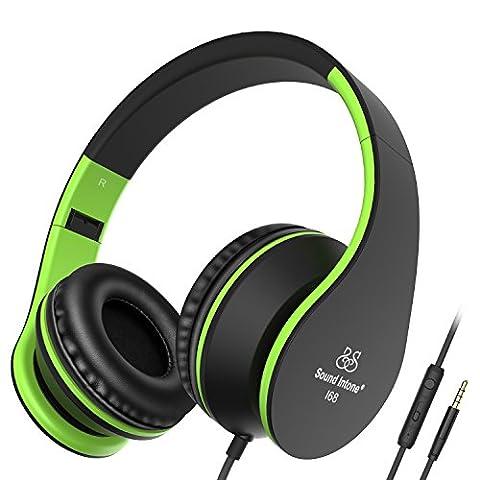 Sound Intone I68 faltbarer On-Ear Kopfhörer Headset, Lautstärkeregelung, Mikrofon und 3,5 mm Klinkestecker für PC/ Smart Phone/Ipad/