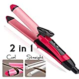 Nova 2 In 1 Ceramic Plate Set Of Hair Straightener Plus Curler (Pink)