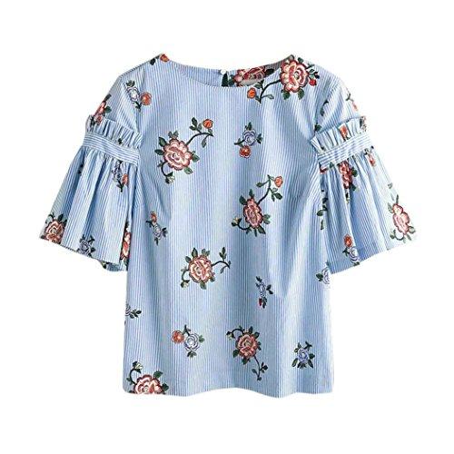 Maglie a manica lunga con stampa a righe koly maglietta mezza manica a mezza manica con stampa floreale floreale maglietta allentata (xxl, blue)