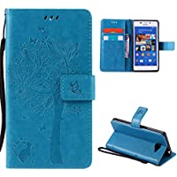 Sony Xperia M2 Case,Skin Durable Protective Case Premium PU Leather Wallet Case Durable Protective Case with Kickstand and Credit Card Slot Cash Holder Flip Cover for Sony Xperia M2 Blue