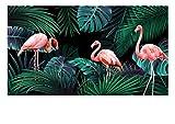 Wapel Verdunklungsvorhänge Handgemalte Flamingos mit Tropischen Pflanzen Drucken 3D Foto Vorhang Für Wohnzimmer Schlafzimmer Fenster Balkon H215 * W200cm