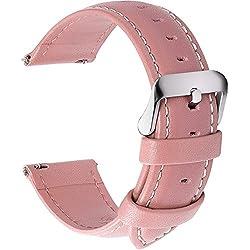 Fullmosa 14mm 16mm 18mm 19mm 20mm 22mm 24mm Bracelet Montre en Cuir Véritable, 12 Couleurs Axus Montre Bracelet à Dégagement Rapide,18mm Rose Clair