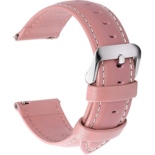 Fullmosa 12 Farben Uhrenarmband, Axus Serie Lederarmband Ersatz-Watch Armband mit Edelstahl Metall Schließe für Herren Damen 22mm Rosa -