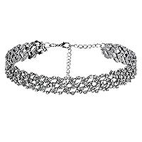 BeyDoDo Samt Kette Damen Mädchen Colliers Hohl Pattern Zirkonia Silber Halsband Halsketten Einstellbare Länge 30.2+7.2CM