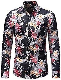 Camisa de Manga Larga de la Blusa de Manga Larga con Estampado de Flores de otoño Invierno de los Hombres de Moda de…