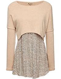 khujo Damen Pullover Annabelle beige Cropped Strickpullover und Trägertop  2-in-1 Damen Pullover b6774a774f