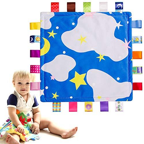Baby Kinderkrankheiten Stoff Beißring - Sicherheitsdecke Beruhigende Decke Kuscheldecke - Beruhigende Decke - Süße Muster und bunte Bänder helfen, sich besser zu beruhigen - Blau
