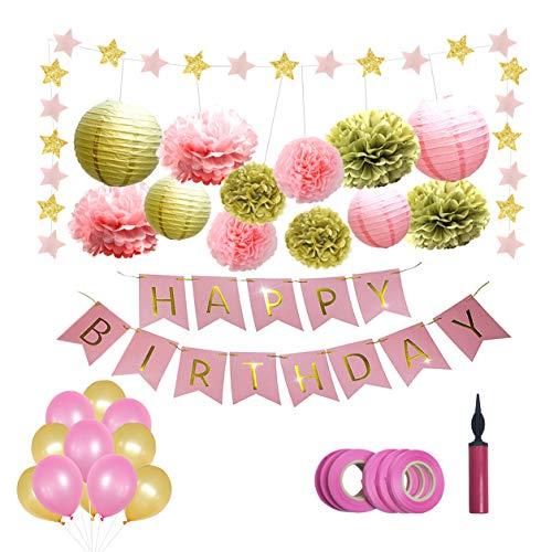 Happy Moment decoration Deko Geburtstag,Geburtstagsdeko für Mädchen / Frauen Premium-Qualität, in Pink und Gold