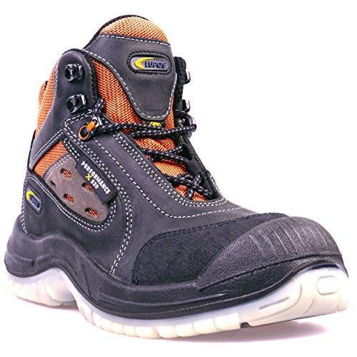 Lupos® Sicherheitsstiefel S1P ESD LOG303 Schwarz/Orange Herren - Atmungsaktiv, Alu-Cap, Durchtrittsicher, Rutschhemmend (SRC), Antistatisch (ESD), Nubukleder, Zehenschutz, Anti-Shock-Fußbett (43)