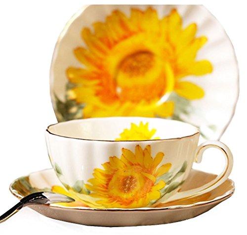 123Arts Fine Bone China Sonnenblume Vintage Chintz Porzellan Kaffeebecher Teetasse mit Untertasse Vintage Fine China