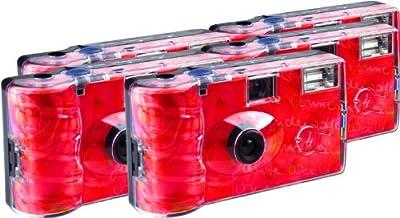 TopShot Roses - Cámaras desechables (27 fotos, flash, 5 unidades), color rojo [Importado de Alemania]