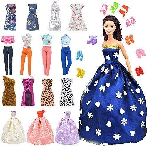 E-TING Lot 15 Artikel = 5 Sets Fashion Casual Wear Kleidung / Outfit mit 10 Paar Schuhe für Mädchen Puppe Random Style(Kleidung + Hochzeitskleid + Kurzer Rock)(Puppe Nicht enthalten)