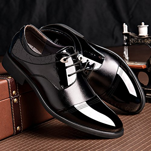 GRRONG Herren Lederschuh Echtes Leder-Geschäft-formales Kleid Schwarz Braun Brown
