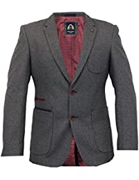 Mens Blazer Marc Darcy Coat Formal Suit Jacket Patches Herringbone Ronny SlimFit