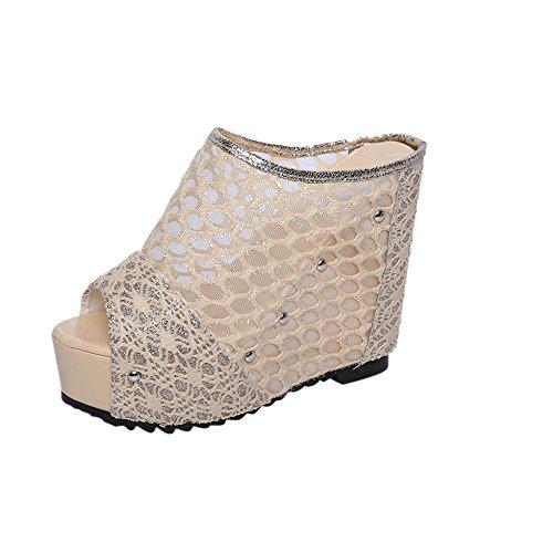 Webla Damen Sandalen Schuhe Prinzessin Schuhe Mode Sandalen Slope Frauen Fisch Kopf Wort Hausschuhe Gold