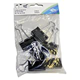 Wedo 6421532 Foldback Klammern, 6 Stück im Beutel, lackiertes Metall abnehmbare Bügel, starke Feder, 32 mm, schwarz/silber
