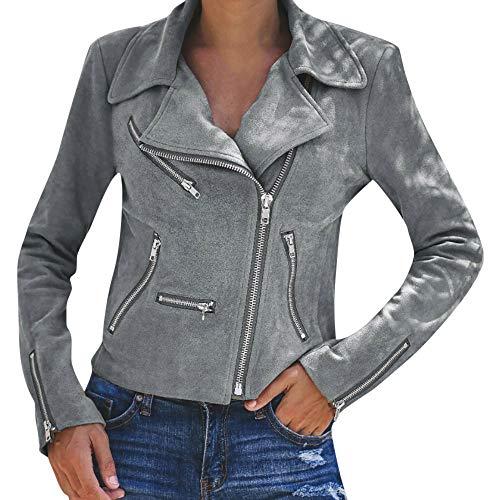 5ac7d710bc9 Overdose SeñOras para Mujer Retro Rivet Fresco Zipper Up Bomber Chaqueta De  Moda Casual Outwear (