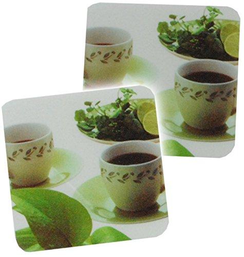 alles-meine.de GmbH 2 tlg. Set - Unterlage -  grüner Tee  - Getränke Untersetzer - Unterlagen aus Kunststoff - Küche Grün Tasse Zitrone - Getränkeuntersetzer (Blatt-untersetzer-set)